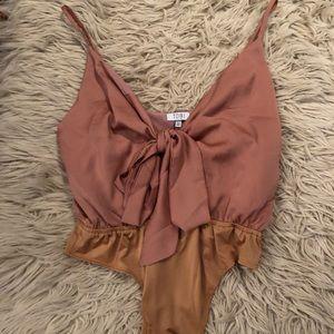 NWT Tobi Pink Satin Bow Bodysuit
